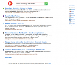 A typical search result on duckduckgo.com