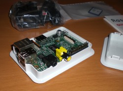 RaspberryPi sitting in its case without the upper half